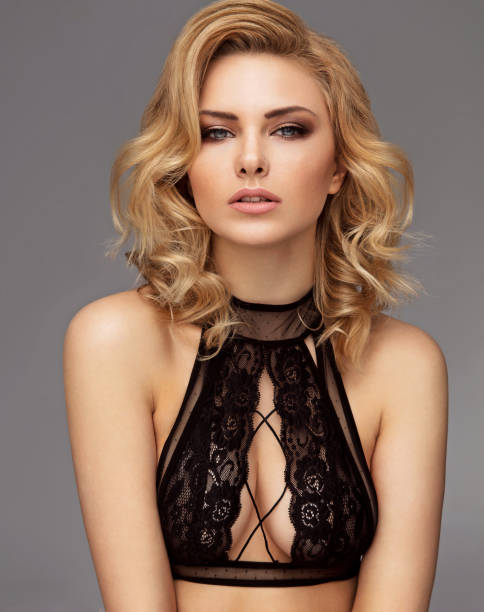 Beautiful blonde Beautiful blonde female model lingerie stock pictures, royalty-free photos & images