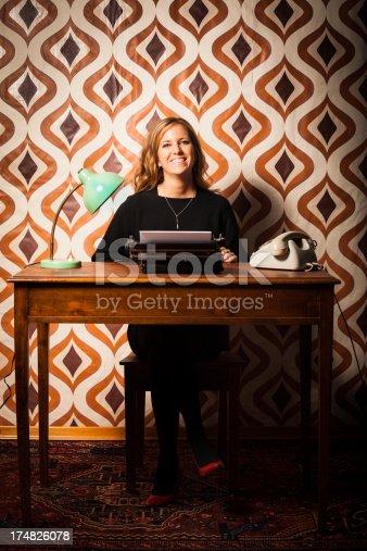 istock Beautiful Blonde Retro Secretary in the Office 174826078
