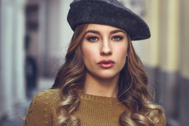 Beautiful blonde russian woman in urban background stock photo