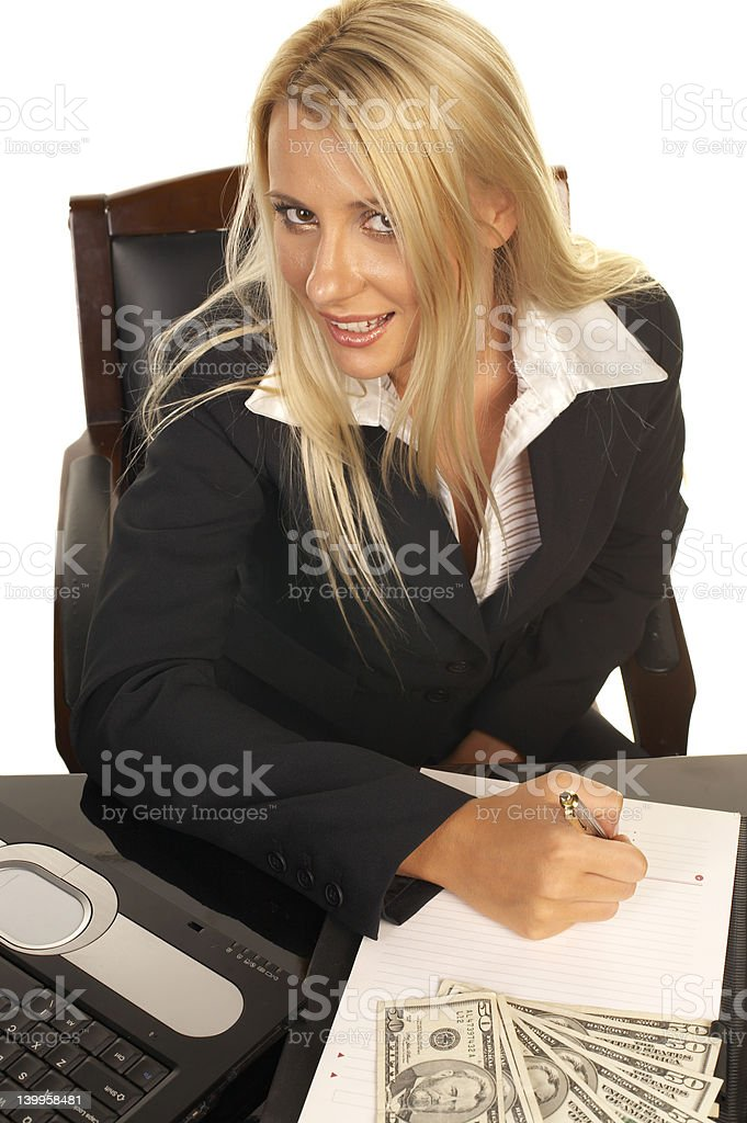 Beautiful Blonde Signing Contract royalty-free stock photo