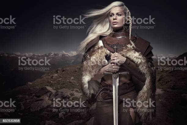 Beautiful Blonde Sword wielding viking warrior female