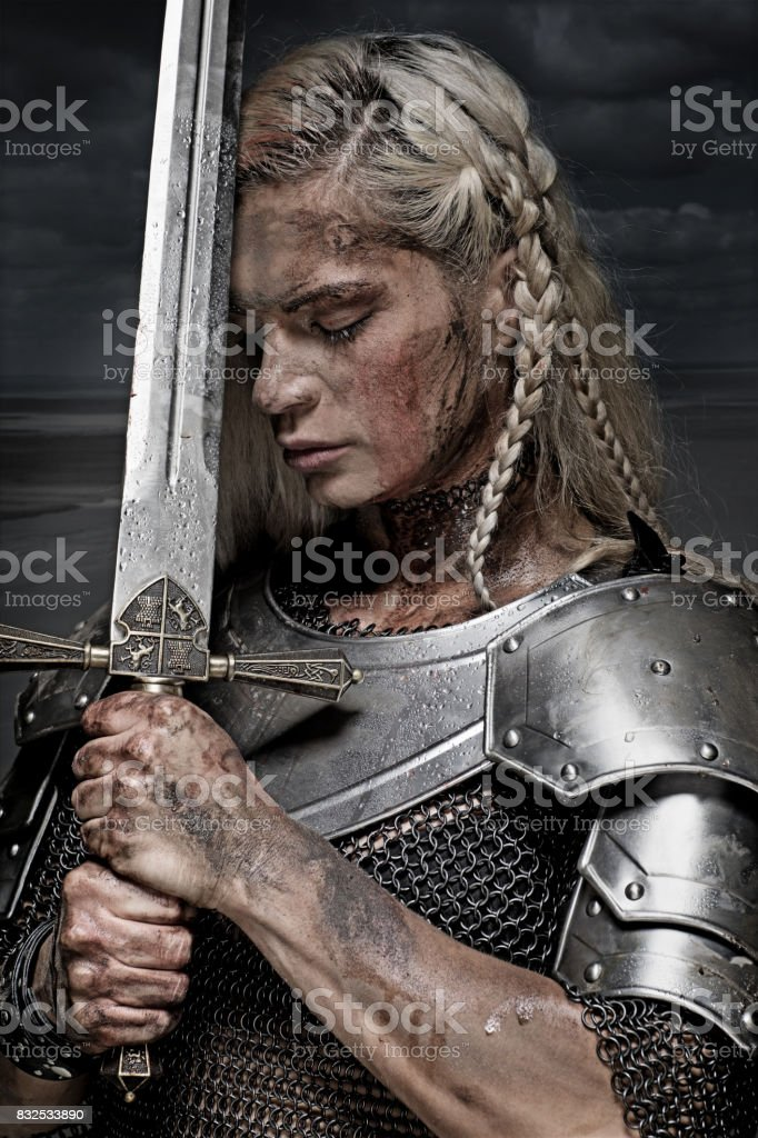 Portrait Of Viking Woman In A Traditional Warrior Clothes