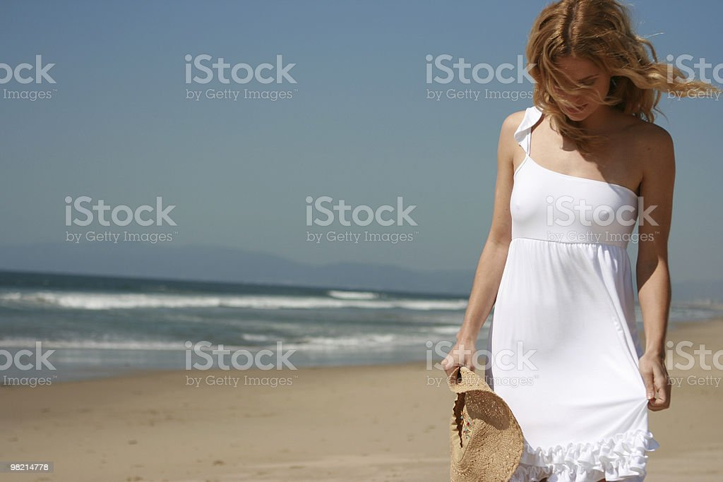 Beautiful Blonde Walks on the Beach royalty-free stock photo