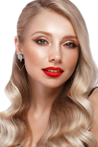istock Beautiful blonde with red lips. 1222855017