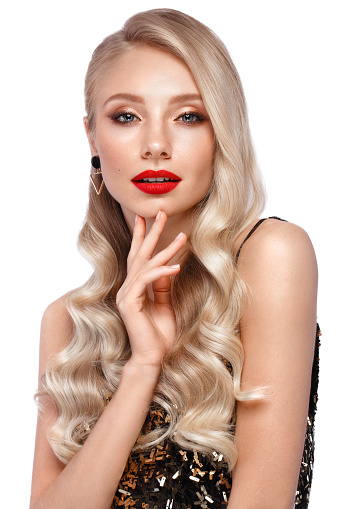 istock Beautiful blonde with red lips. 1222855085