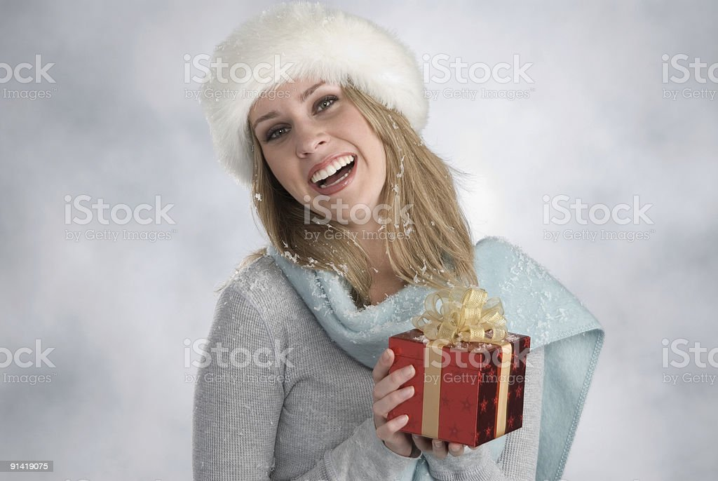 beautiful blonde with xmas gift royalty-free stock photo