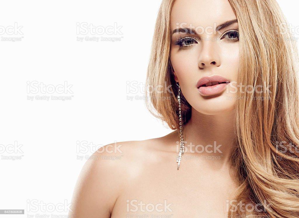 Beautiful Blonde Woman Face Close Up Portrait Studio On White Lizenzfreies Stock Foto