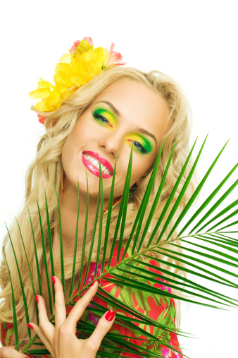 Beautiful Blonde Woman Holding Large Tropical Leaf Stock Photo - Download Image Now