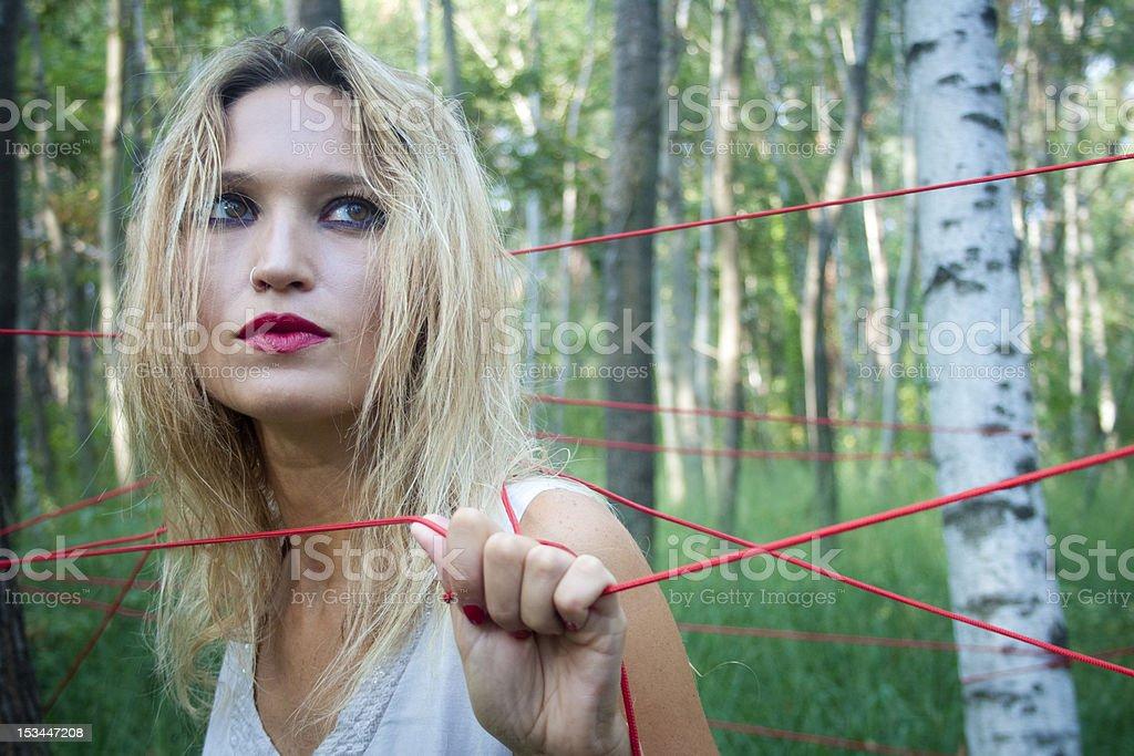 beautiful blonde woman in the gaze looking away stock photo