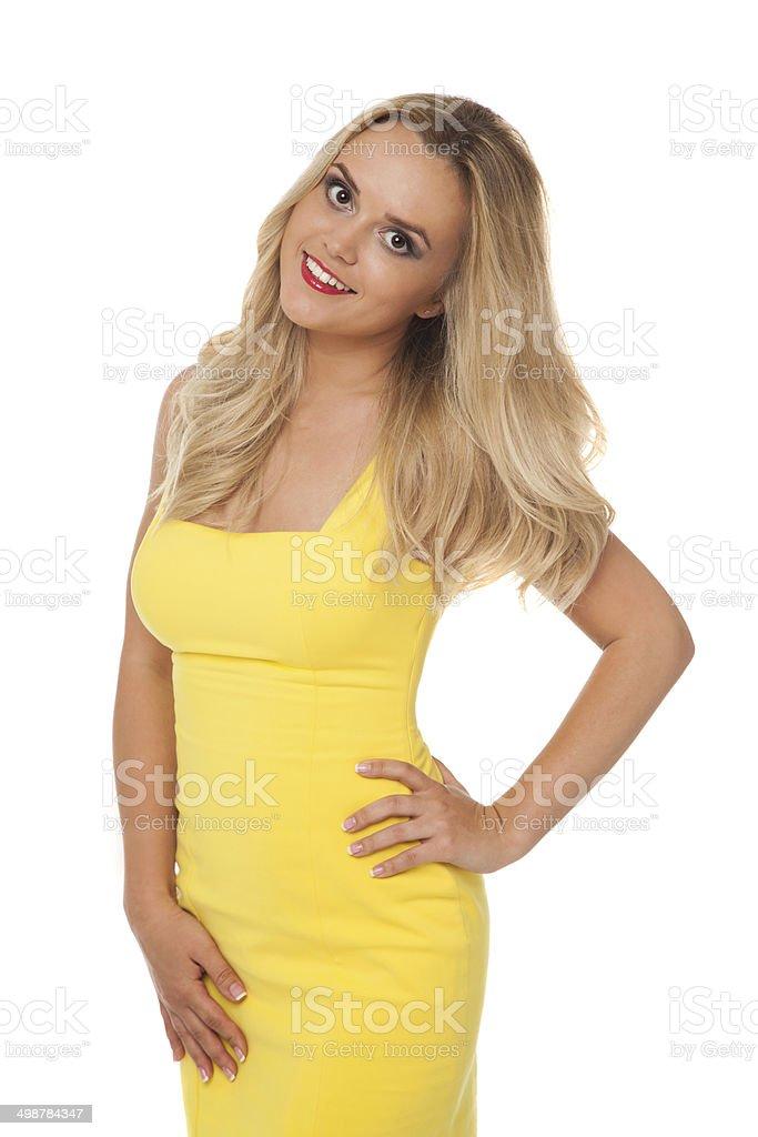 Audacieux Photo libre de droit de Belle Blonde Femme Portant Robe Jaune DB-16