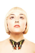 istock Beautiful blonde woman with a butterfly on her neck 184382616