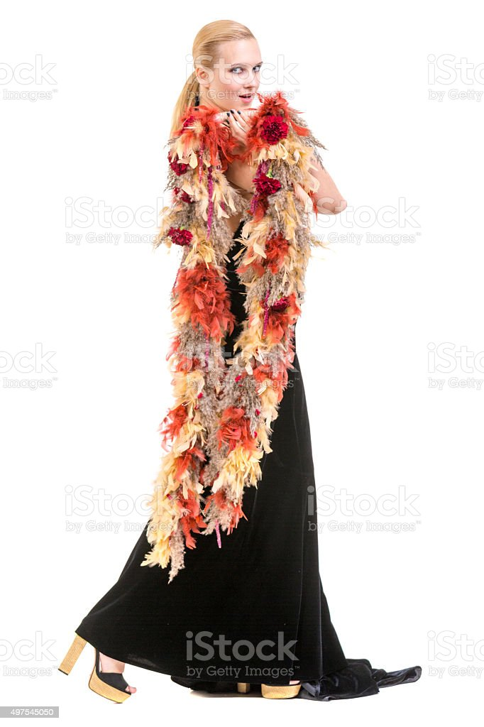 Beautiful Blonde Woman With Floral Boa stock photo
