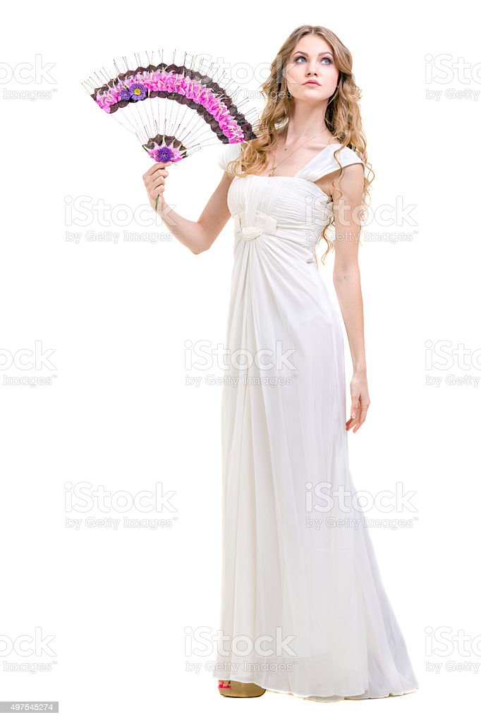 Beautiful Blonde Woman With Flowers Hand Fan stock photo
