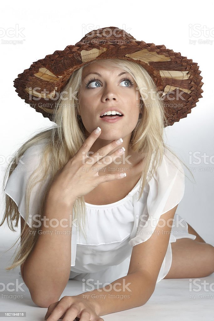 beautiful blonde woman with straw hat royalty-free stock photo