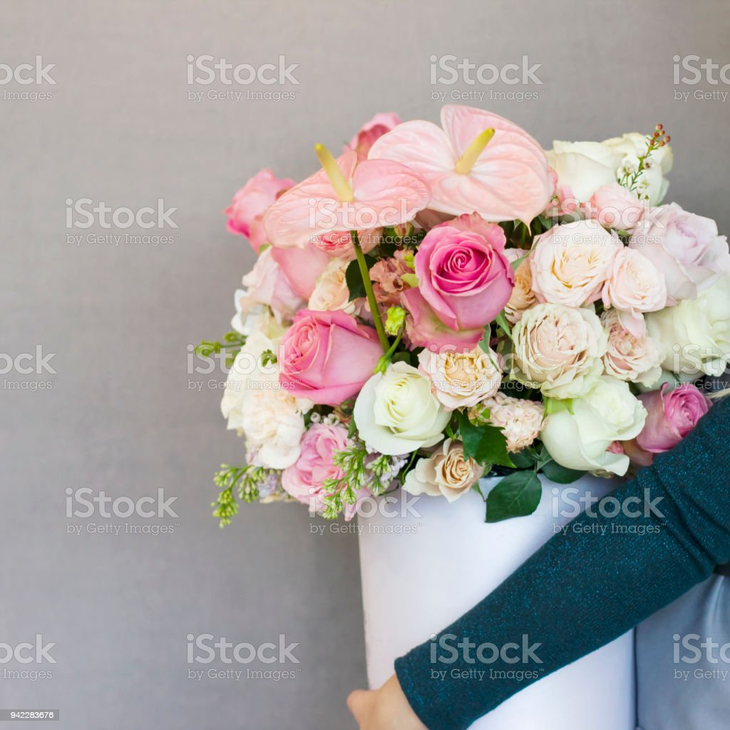 Beautiful Blonde Young Woman Holding Big Delicate Bouquet Of Flowers