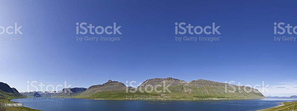 Beautiful blue Arctic Circle remote ocean fjord panorama Iceland royalty-free stock photo