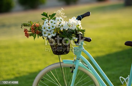 Beautiful blue bicycle with a basket of flowers.
