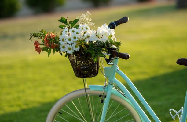 Schöne blaue Fahrrad mit einem Korb voller Blumen – Foto