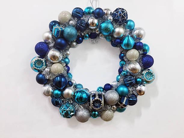 beautiful blue christmas wreath stock photo - Blue Christmas Wreath