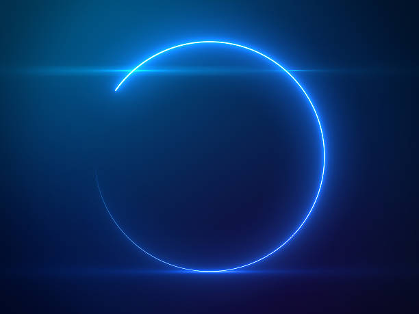 beautiful blue circle light with lens flare on particles background - çember stok fotoğraflar ve resimler