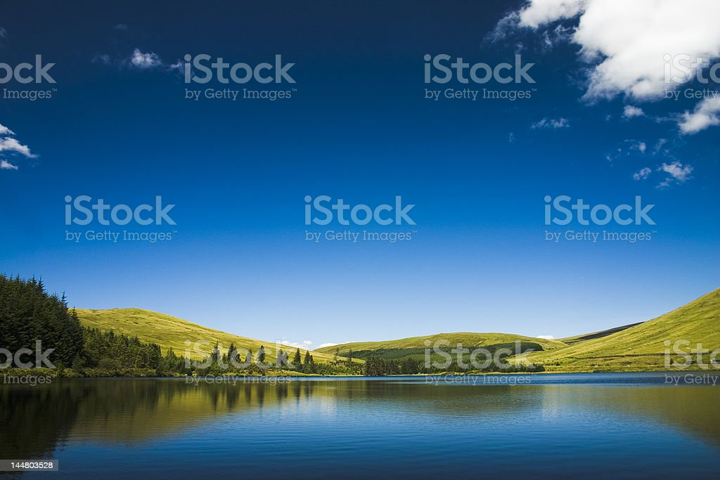 Beautiful blue day by the lake in Wales royalty-free stock photo