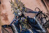 Beautiful Blue Dragon Carnival Costume Performing on Venice Streets During Venice Carnival