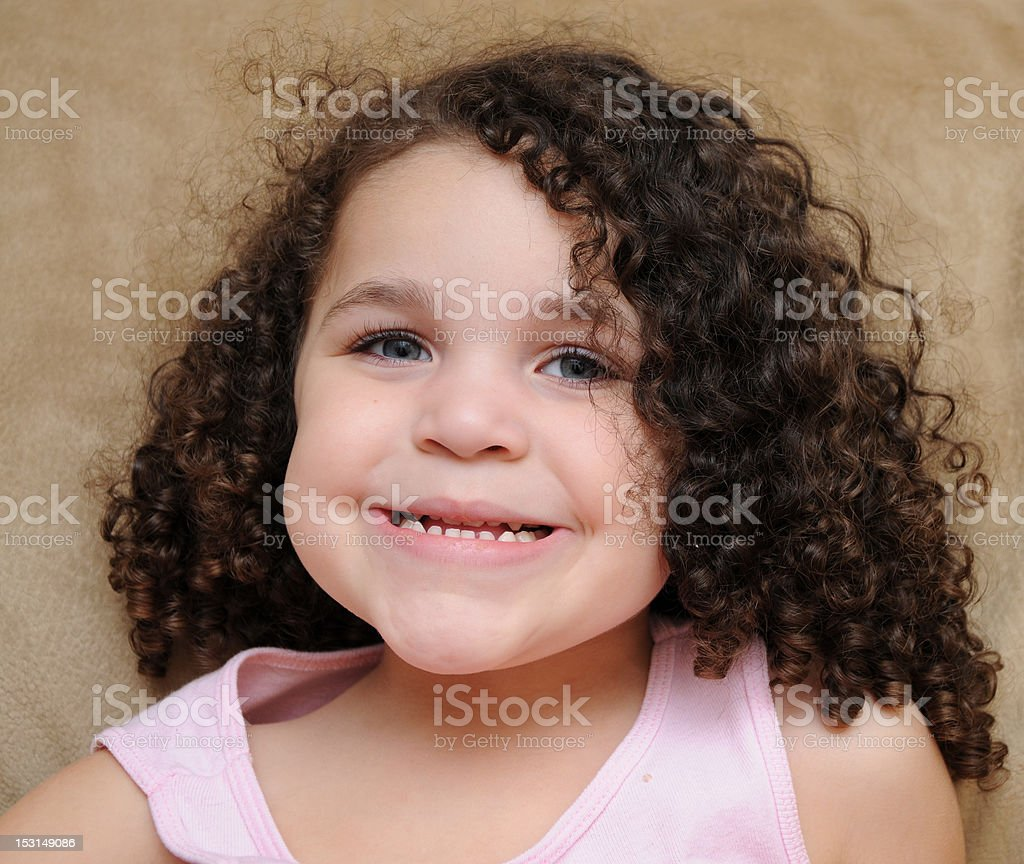 Beautiful Blue Eye Curly Hair Smiling Showing Teeth Stock Photo Download Image Now Istock
