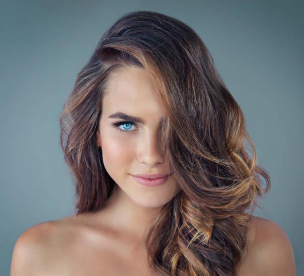 Beautiful blue eyes stock photo