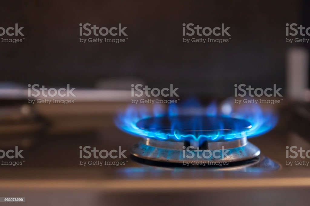 Beautiful blue flame on the gas-fired burner royalty-free stock photo