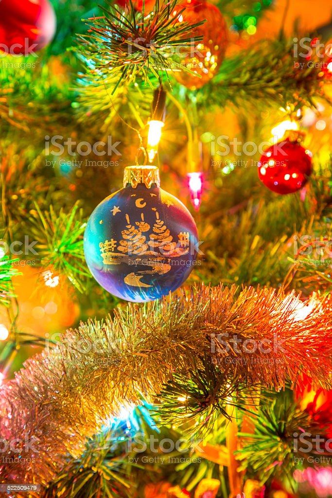 Beautiful blue glass ball on Christmas Tree stock photo