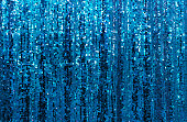 Beautiful blue glitter Sparkling sequined curtain background