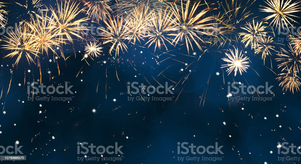 Beautiful Blue Holiday background with fireworks Beautiful Blue Holiday background with fireworks. Wide Angle Billboard or Web banner With Copy Space. Template to design Greeting card for Christmas, New year, anniversary, independence day, Birthday Abstract Stock Photo