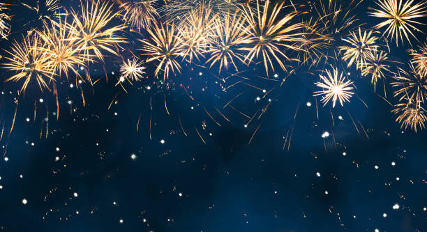 Beautiful Blue Holiday background with fireworks stock photo