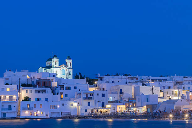Beautiful blue hour of local church of Naoussa. stock photo