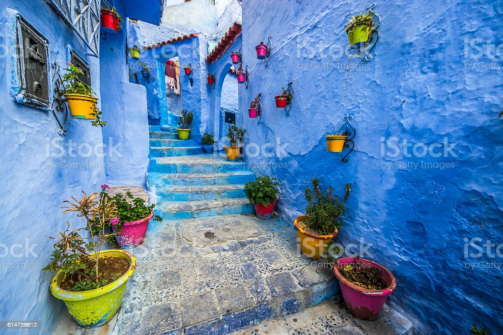 Beautiful blue medina of Chefchaouen city in Morocco, Africa. stock photo