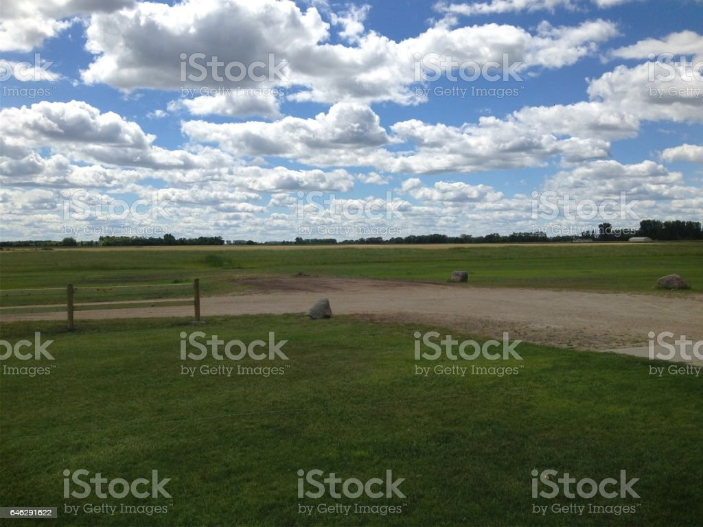 Beautiful Blue North Dakota Sky and Landscape With Clouds stock photo