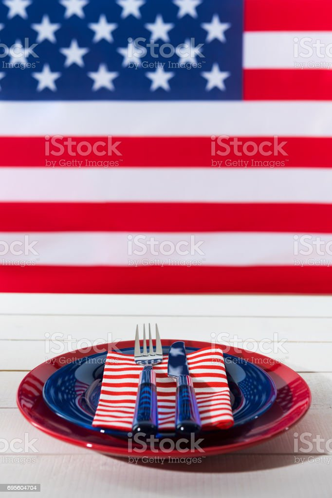 Beautiful blue red and white patriotic table setting stock photo