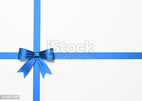 A beautiful blue satin gift bow with a clipping path. Gift bow has a fine textile texture and soft shadows on the background. Isolated on white background.