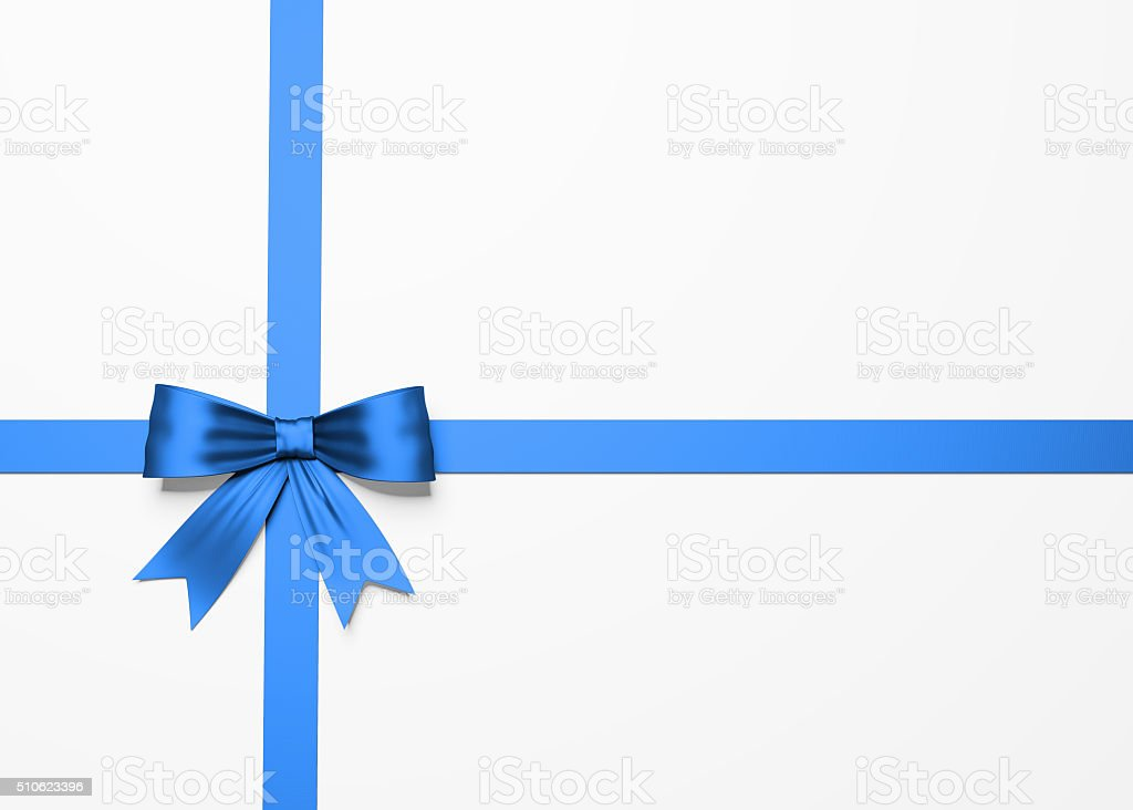 Beautiful Blue Satin Gift Bow On White stock photo
