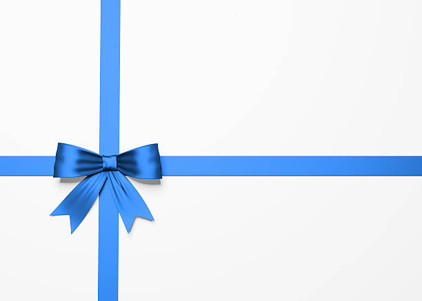 beautiful blue satin gift bow on white - award ribbon stock photos and pictures