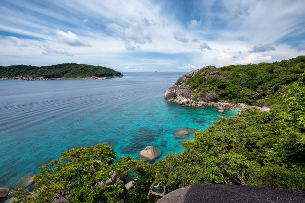 Beautiful blue sea with the sky on viewpoint at Similan island stock photo
