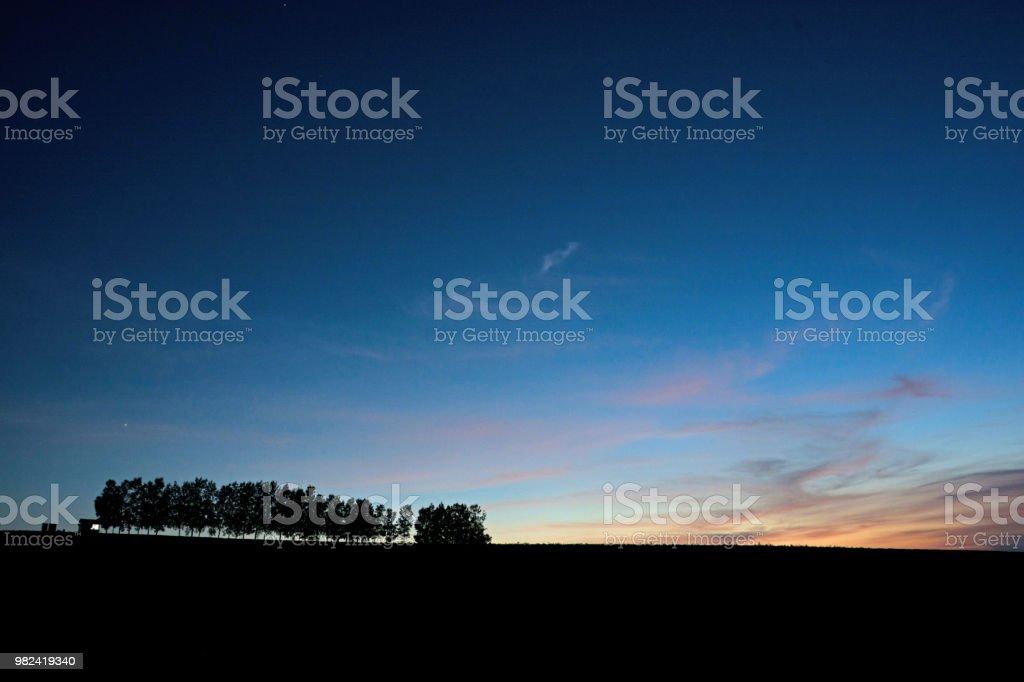 Beautiful blue sky after sunset in Biei stock photo