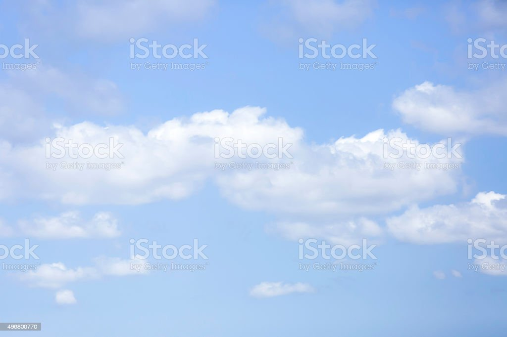 Beautiful blue sky background with soft white clouds, copy space stock photo