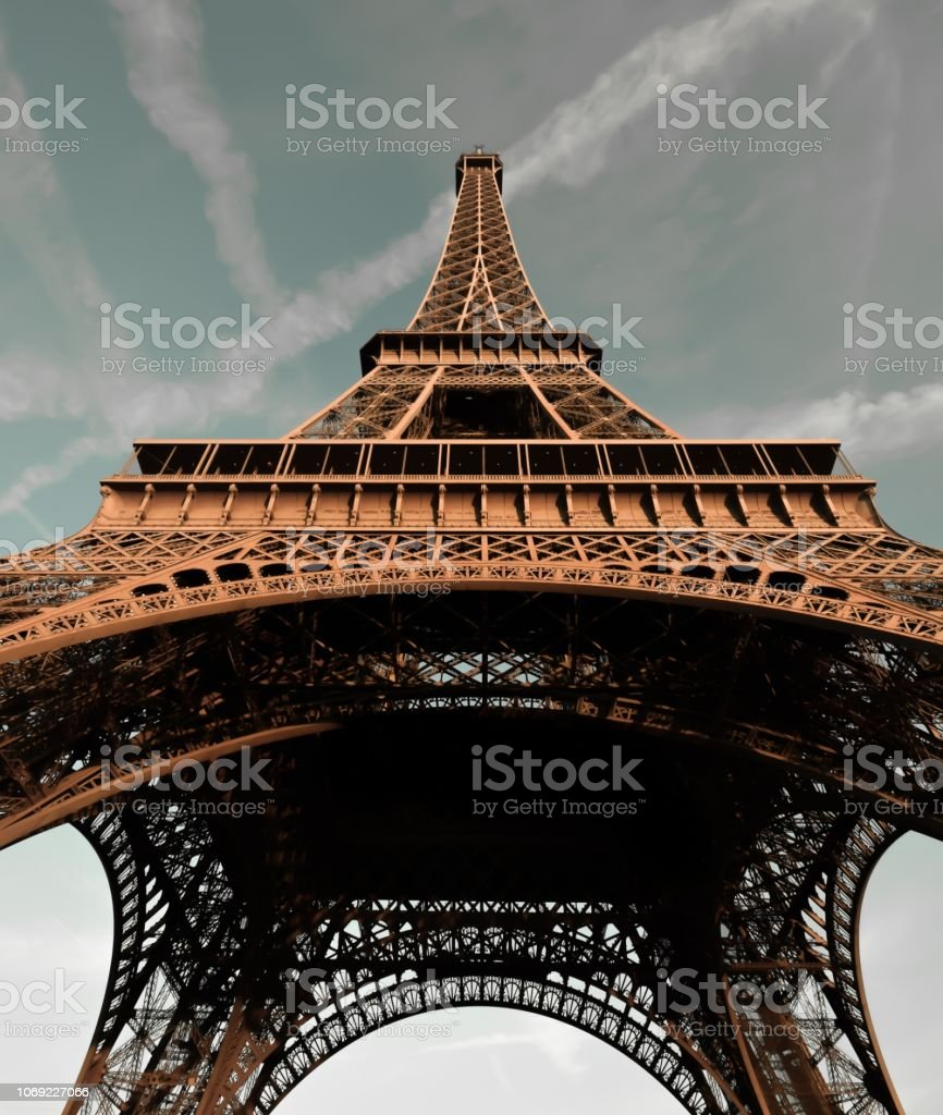 Beautiful Blue Sky Behind the Eiffel Tower in Paris, France stock photo