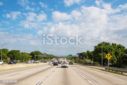 640042252 istock photo Beautiful blue sky view from the car 1075133760