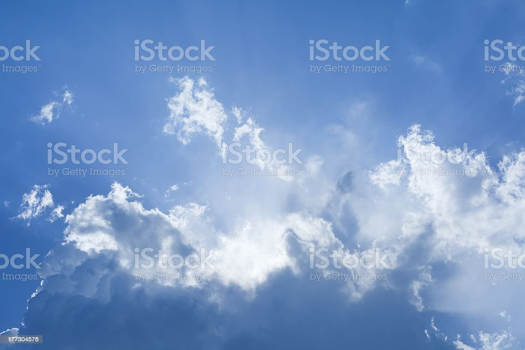 Beautiful blue sky with bright sun royalty-free stock photo