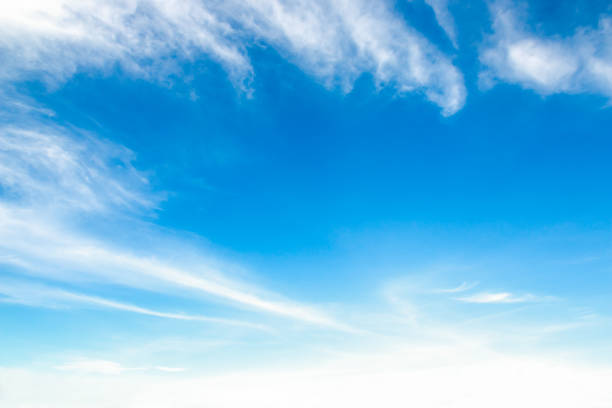 beautiful blue sky with cloud and copy space for spring summer or other background stock photo