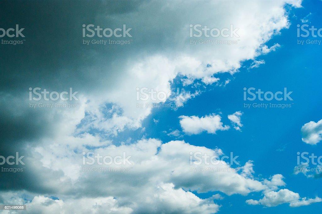 Beautiful blue sky with clouds and sun Lizenzfreies stock-foto