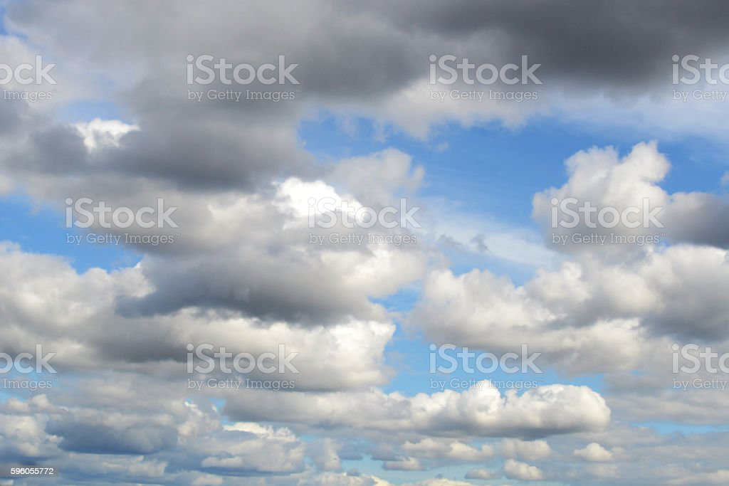 Beautiful blue sky with discrete white clouds royalty-free stock photo