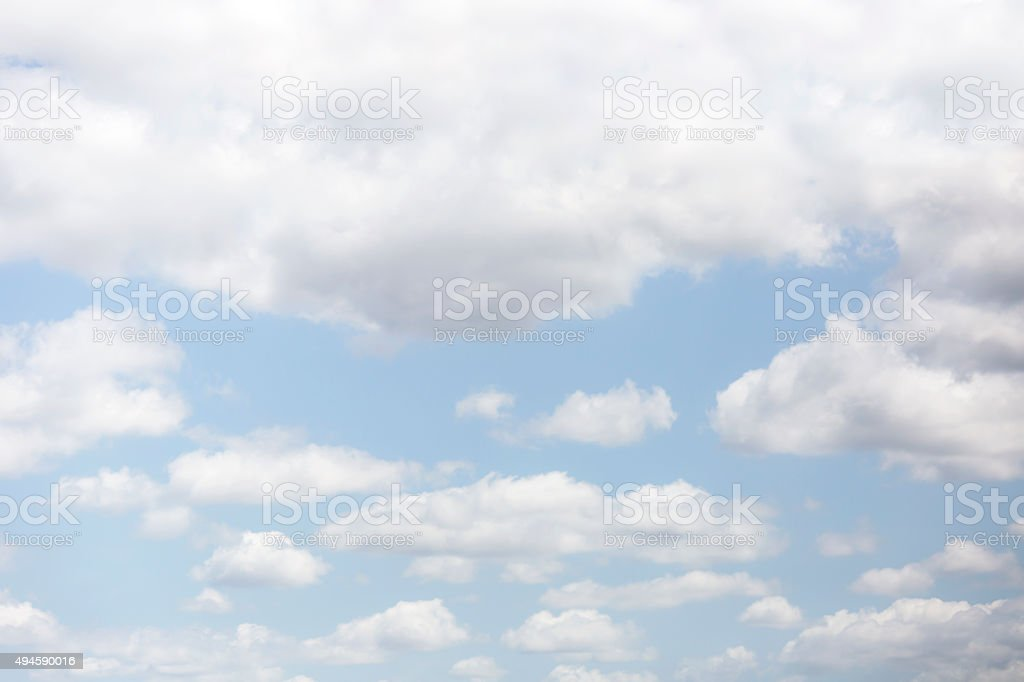 Beautiful blue sky with soft white clouds background, copy space stock photo